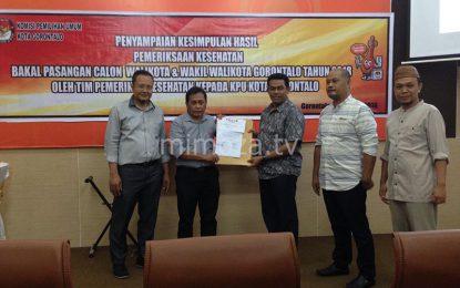 KPU Kota Gorontalo Terima Kesimpulan Hasil Pemeriksaan Kesehatan Bapaslon Pilwako