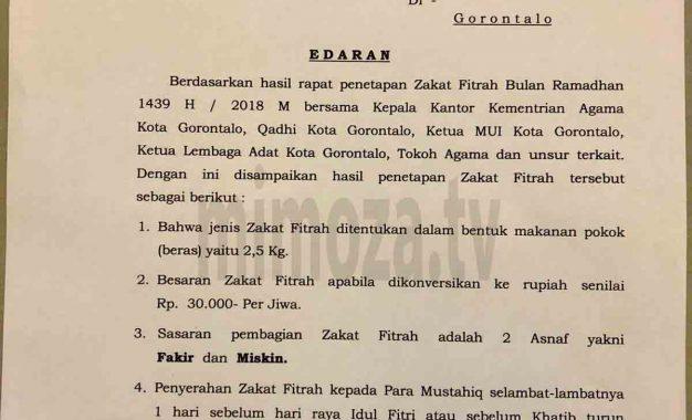 Zakat Fitrah Kota Gorontalo Rp. 30.000, Masyarakat Bebas Salurkan Lewat Apa Saja